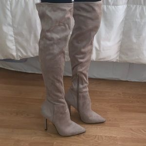 Light Grey Suade Over the Knee Boots